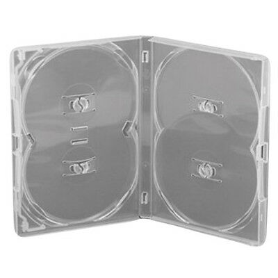 1 x Genuine 4 Way 4 Disc Quad Overlap Clear Amaray 14mm DVD Case
