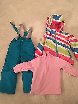 Girls Skiing Jacket With Trousers And Fleece Top Size 2-3