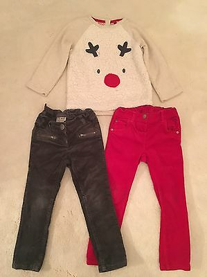 Girls Next Christmas Outfit Trousers And Top Size 3-4