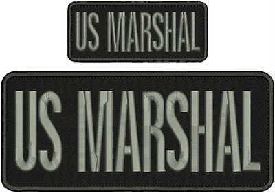US MARSHAL embroidery patch 4x10 &2X5 hook  on back gray letters