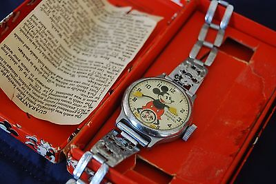 1930's Mickey Mouse Watch By Ingersoll All Orig With Box & Papers Rarely Seen!