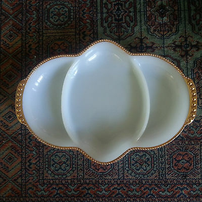 Vintage Fire King Milk Glass With Gold Edging Divided Dish Platter Retro
