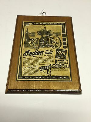 """Indian Motorcycle Advertisement On Wood Forever 11"""" H 8.5"""" W"""