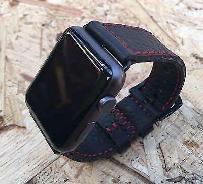 Black Lyche Leather Watch Strap Band For Apple Watch 42mm Series 2 3 Black Fixs