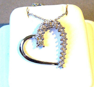 NATURAL DIAMOND HEART STERLING SILVER PENDANT NECKLACE - 10 DIA's - .35 ct. TDW