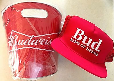 Genuine Budweiser Metal ice Bucket with a Bud King of Beers Cap Combo Brand New