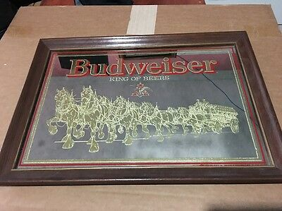 Vintage Budweiser Beer Clydesdale Horses and Wagon Bar Mirror