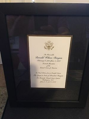President Ronald Reagan Lying in State Tribute Card Framed And Matted