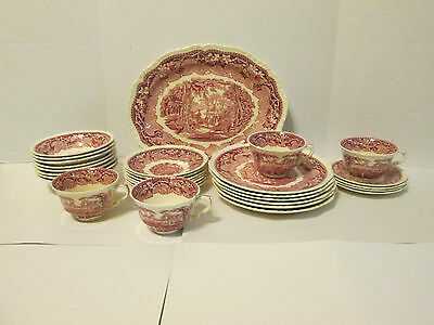 Mason's Red Vista Ironstone Platter (6) Plates (8) Bowls (4) Saucers (4) Cups+++