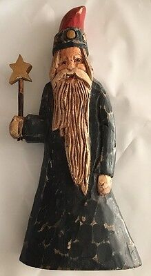 """Wooden Wizard Hand Carved And Painted VTG Folk Art 10 1/2"""""""