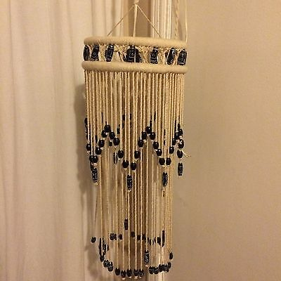 """Vintage Large Macrame Beaded Hanging Light Fixture Swag Lamp White 10"""" by 24"""""""