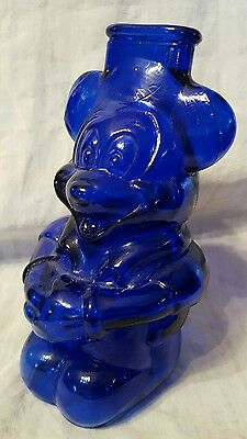 Vintage Cobalt Blue Glass Mickey Mouse Club Coin Bank (Large)