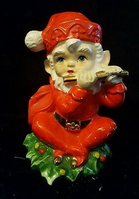 Vintage Norcrest Ceramic Christmas Elf Coin Bank ~ Circa 1950 ~ Made in Japan