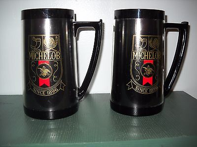 Vintage MICHELOB Insulated Beer 2-Mug Cup Stein Lot BUDWEISER Bud THERMO SERV