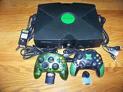 Original Xbox Bundle Console 2 Controllers 2 Memory Cards Microsoft Works Great