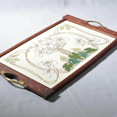 Wächtersbach, large Art nouveau Tray with floral Motif / Flowers, 47,5 cm