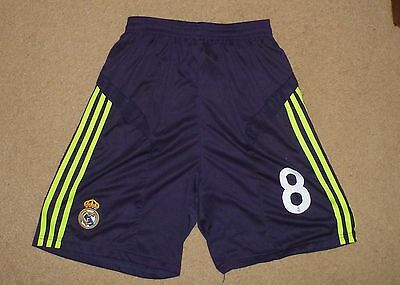New Large Mens REAL MADRID # 8 Soccer Shorts Pants Shop Quality Dark Blue