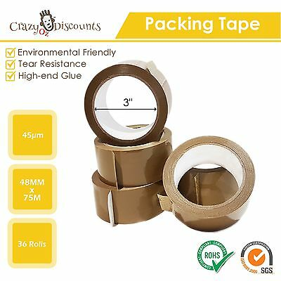 36 Rolls Packing Tape Packaging Brown Pack Shipping Sticky Box Carton 75 M 48Mm