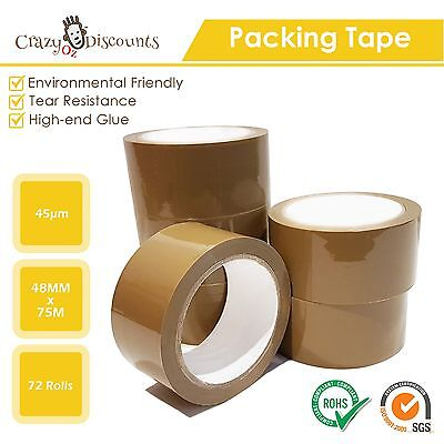 72 Rolls Packing Tape Packaging Brown Shipping Sealing Sticky Box Carton 48Mm Ne