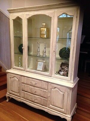 French Provincial Vintage Shabby China Cabinet Buffet Hutch