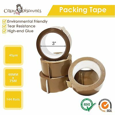 144 Rolls Packing Tape Brown Sticky Box Carton Packaging 75M X 48Mm 3 Inch Core