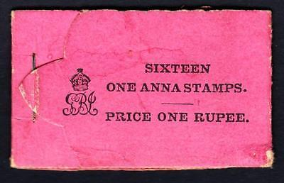 INDIA 1912 1R booklet, pink cover (blank black) with minor faults. Complete inta