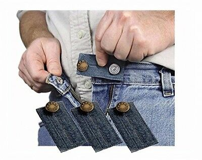 Denim Jean Waist Extender Set of 3 for Men or Women with Gold Metal Button - NEW