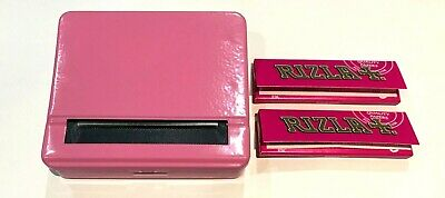 Automatic Rolling Machine Tobacco Case Tin Roller PINK and 2 RIZLA Pink Booklets