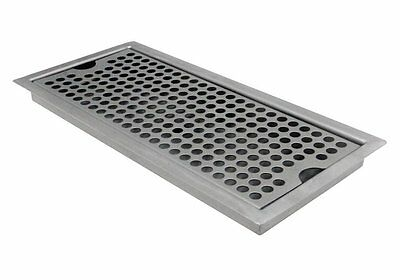 Beer Drip Tray, Stainless Steel Flush Mount w/ Drain, Kegco SEDP-220D, 12x5x3/4""