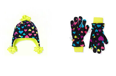 Children's Place Girls 2PC Black Microfleece Hearts Hat~Gloves Set 4-7, 8+ Y NWT