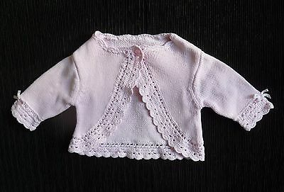 Baby clothes GIRL newborn 0-1m George pink one-button knit/crochet cardigan bows