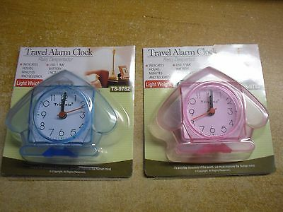 New ! Analog Travel Alarm Clock  Indicates Hours, Minutes and Seconds Pink Blue