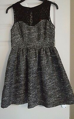Dorothy Perkins Grey Dress with Black Lace panel - Size 12 BNWT