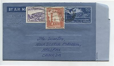 Old Vintage 1950's Postal Cover Pakistan airmail to Halifax NS