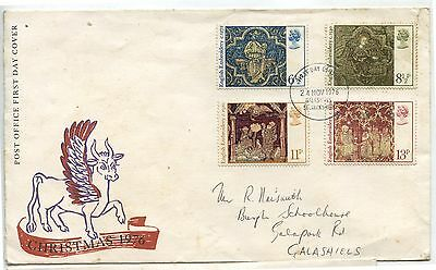 Old Christmas 1976 Great Britain First Day Cover English Embriodery Stamps