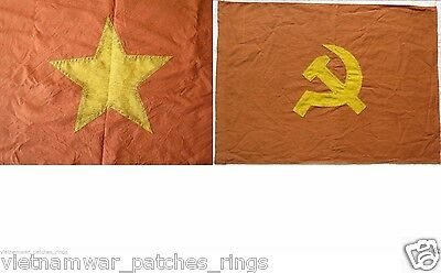 2 flags , THe NLF , COMMUNISTS Hammer and Sickle  , VIETCONG , 2 Battle Flags
