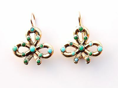 Antique European Bows dangle Earrings solid 18K Gold Turquoise /3