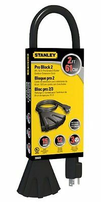 STANLEY 30669 Pro Block 2 Grounded 3-Outlet Outdoor Extension Cord, 2-Feet, Blac