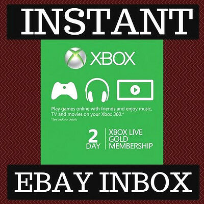 Xbox Live Gold 2 Day 48 Hour  Trial Membership Code 360 One Instant 24/7