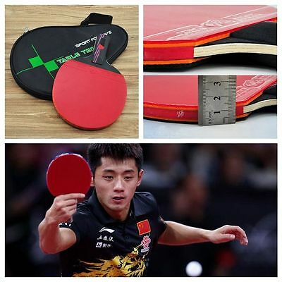 Rubber Ping Pong Paddle Carbon Fiber With Bag Table Tennis Racket Bat