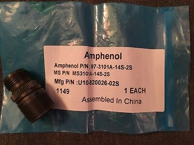 Amphenol 97-3101A-14S-2S Circular Connector Rcpt Size 14S, 4Pos, Cable