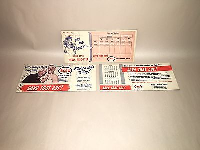 Vintage Antique Esso Gas Oil Ink Blotter Lot Advertising