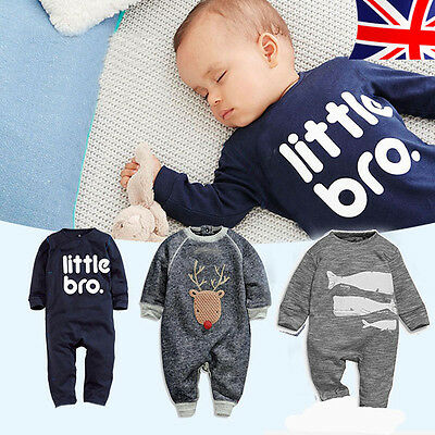 New Newborn Baby Boys Rompers Outfits Bodysuit Jumpsuit Infant Clothes UK seller