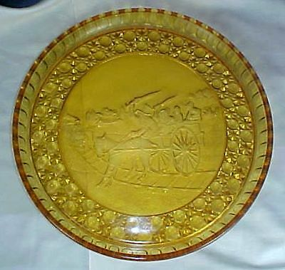 EAPG Findlay Glass Amber Balky Mule Round Plate Currier & Ives Edge Large Scarce