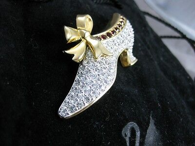 Retired Swarovski Victorian Shoe Pin Swan Signed Jewelers Collection Brooch