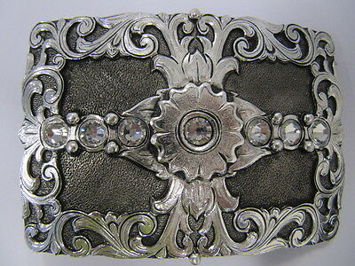 ANDWEST - Women's Belt Buckle - Antique Silver Scroll - Clear Rhinestones - 542