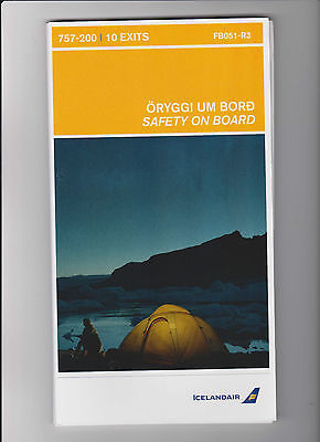1x ICELANDAIR Safety Card Boeing 757- 200 Airplane Airline Card FB051-R3