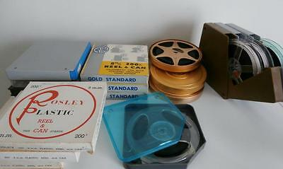 Bulk Lot of 200ft, 8mm Projector Reels, with cases and Cans, boxes.  RARE