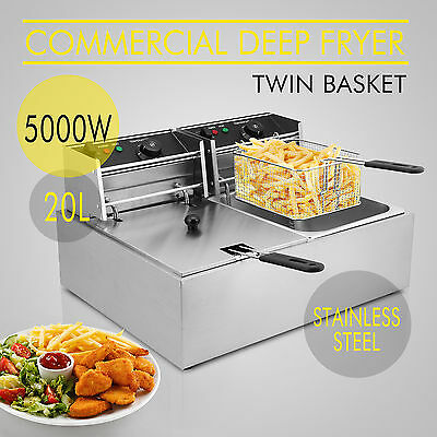 5000W Dual Tank Commercial Deep Fryer 20 L Electric Stainless Steel Countertop