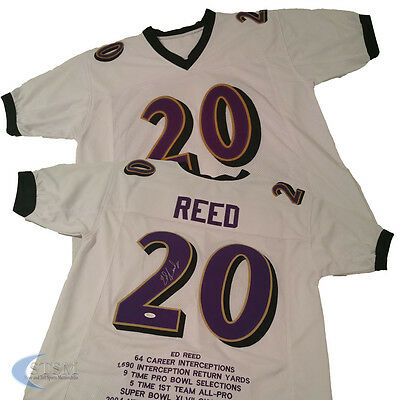 Baltimore Ravens, Ed Reed signed custom White stats Jersey w/JSA